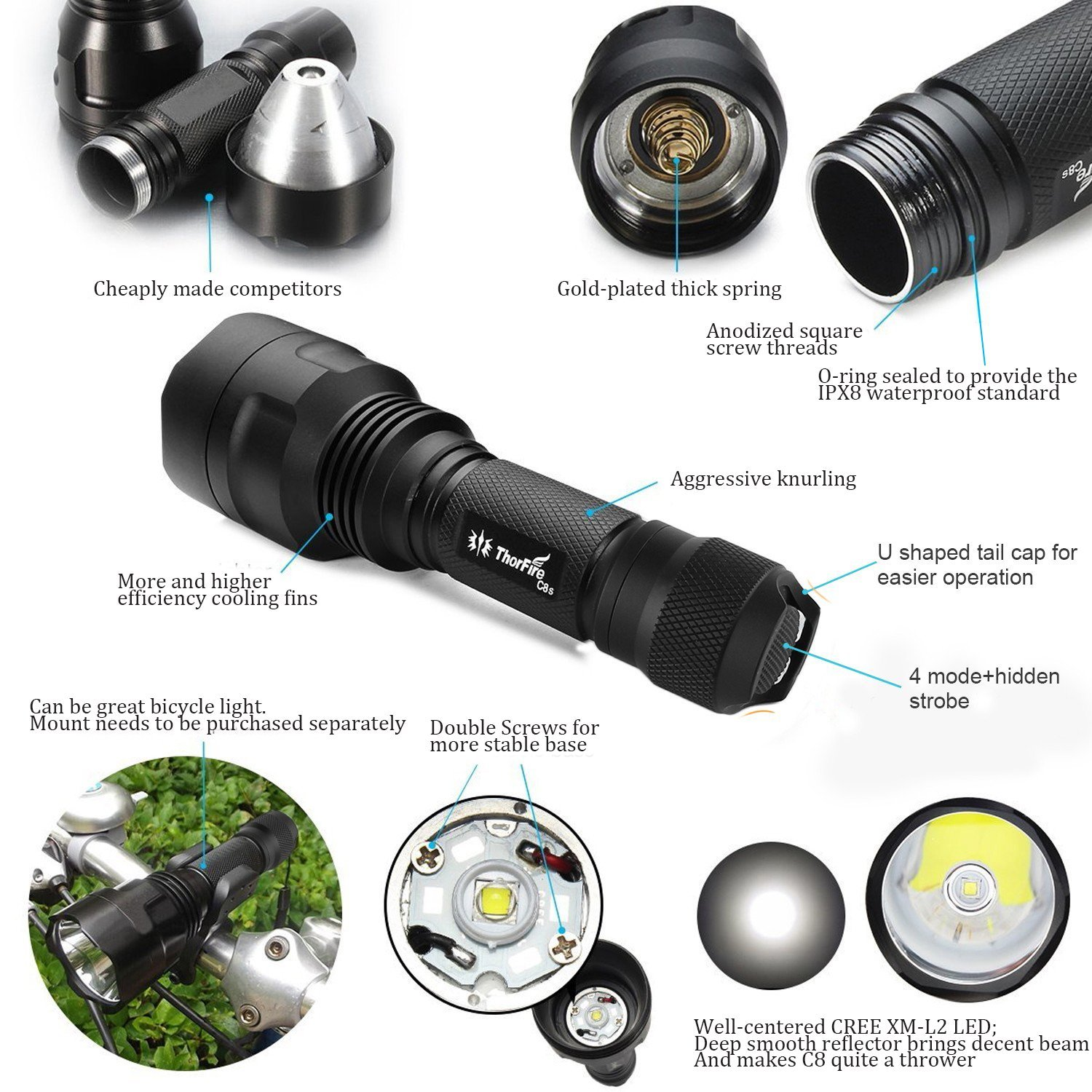 ThorFire Upgraded C8s Flashlight ,900 Lumens, CREE XM-L2, with 5 Modes