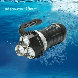 ThorFire  Diving Flashlight ,2000 Lumen , with 3x Cree XP-L LED Lights, Powered by 18650 Battery