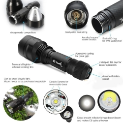 ThorFire C8s Flashlight ,900 Lumens , XML2 LED ,With Rechargeable 18650 Battery, USB Charger , Bike Light Mount