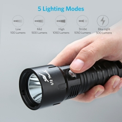 ThorFire TD26 Diving Flashlight with 18650 Battery and Charger, 1000 Lumen