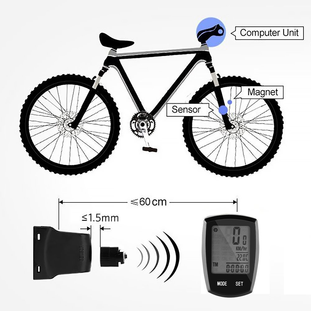 ThorFire Wireless Bike Computer Speedometer ,Large LCD Screen Display & 24 Multi Functions